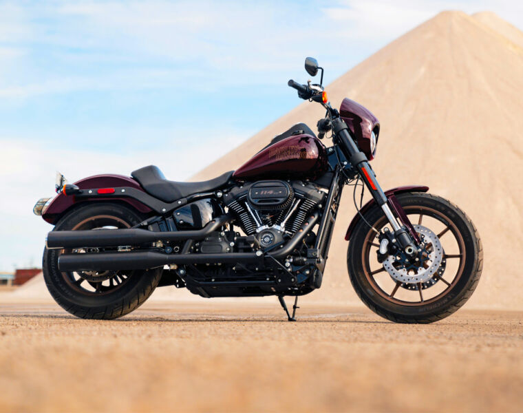 Harley Davidson Low Rider S in a maroon livery