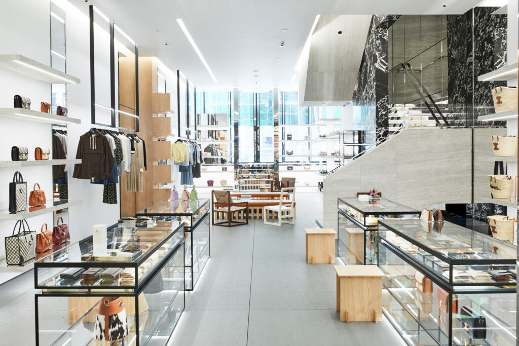 An interior view of the new store from the back to the entrance