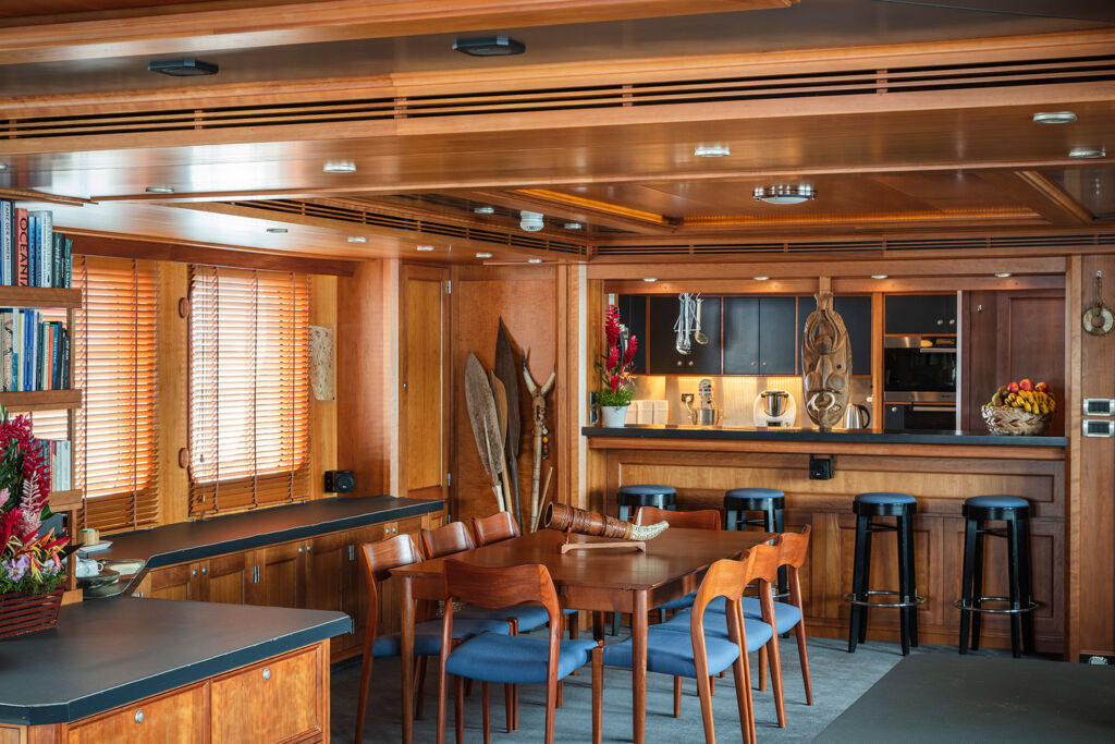 A view inside the yacht