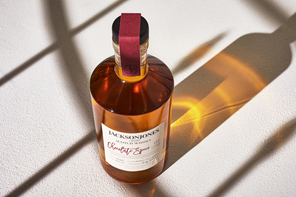 A bottle of the whisky viewed from above