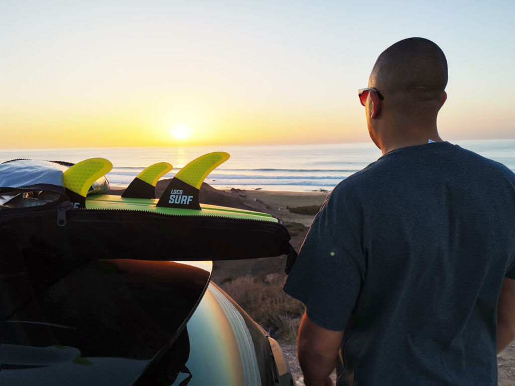 Joe Thwaites of Loco SUP preparing for some Stand Up Paddleboarding