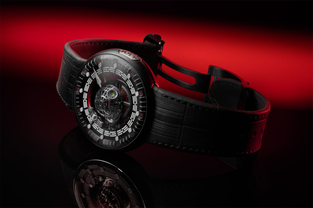 The Death Star Tourbillon watch with its black rubber strap