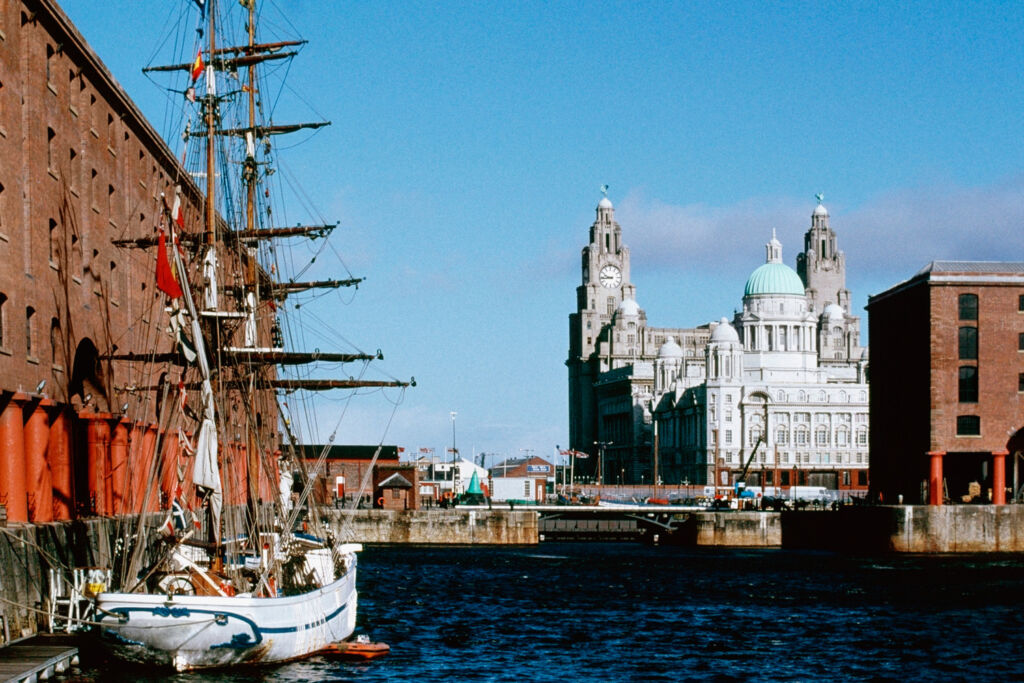 A gorgeous view of the docks in Liverpool on a sunny day