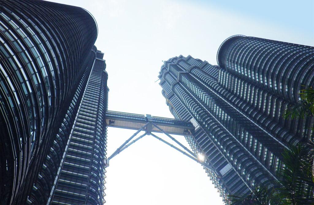 Looking up at The Petronas Towers in Kuala Lumpur Malaysia