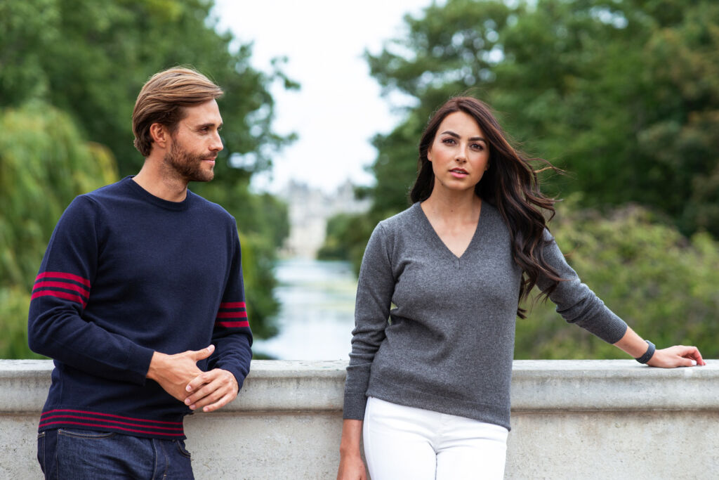 Mens and womens Linea Azzurro Cashmere Jumpers