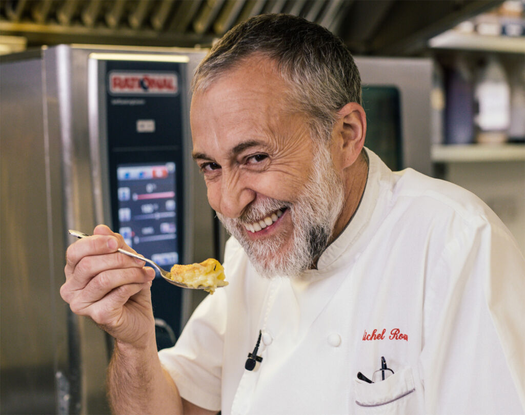 Michel Roux Jr sampling some of his cooking
