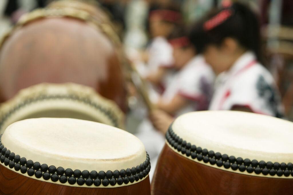 Playing Taiko drums in Japan