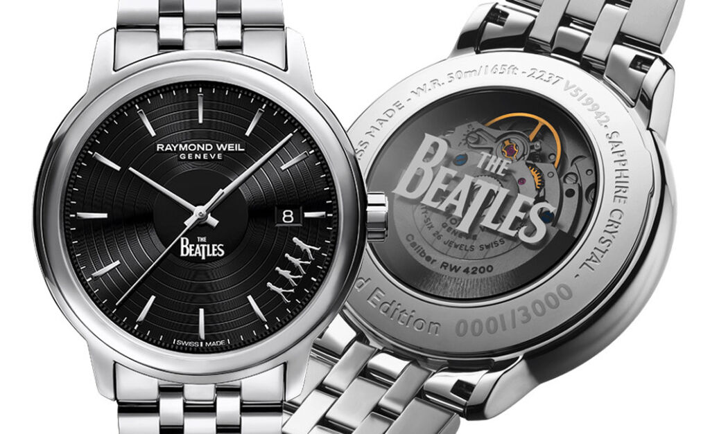 The Beatles Abbey Road edition in steel. Image shows from and rear of the watch