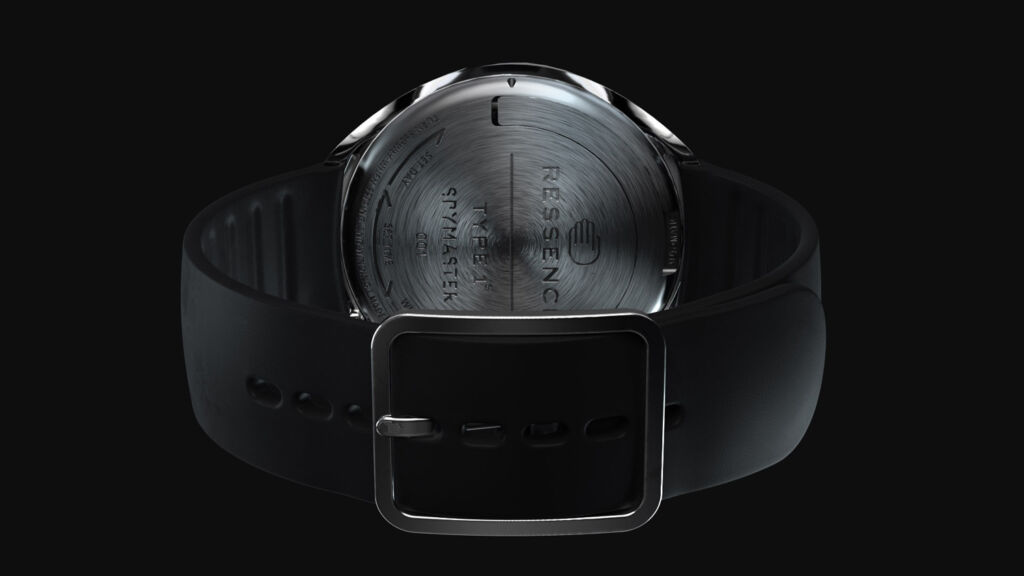 The rear case of one of the Ressence Spymaster Titanium watches
