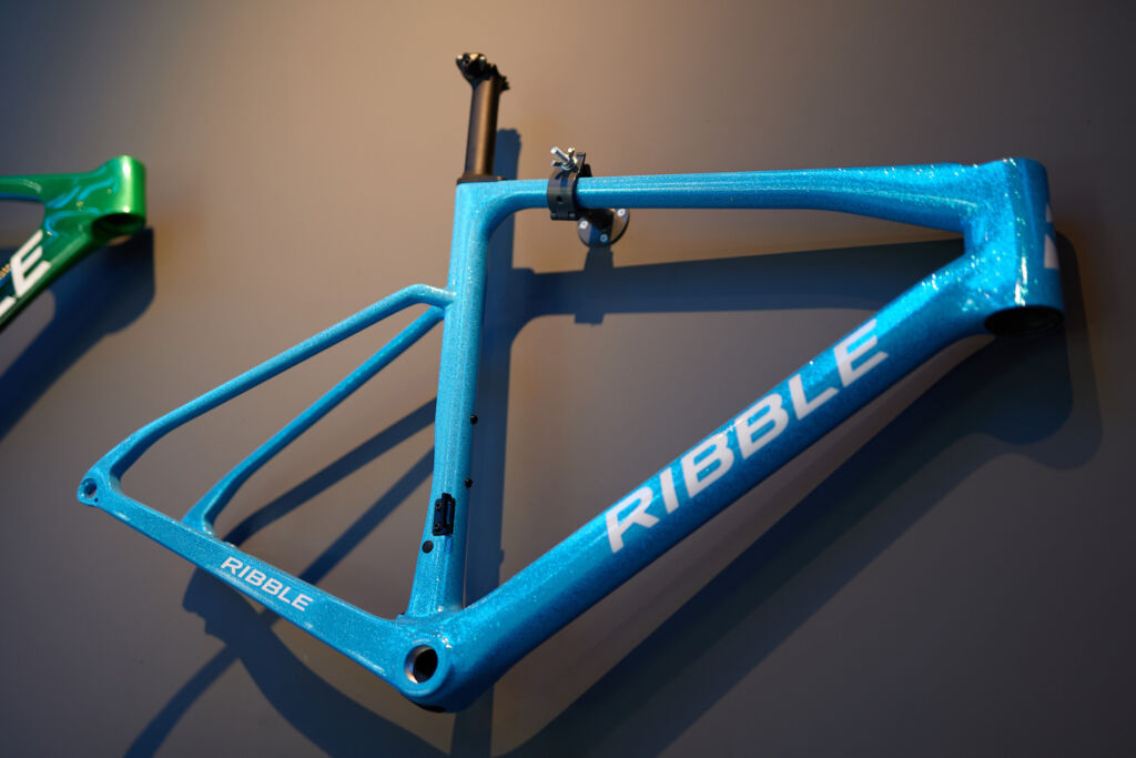 One of the many bike frames available displayed on a wall