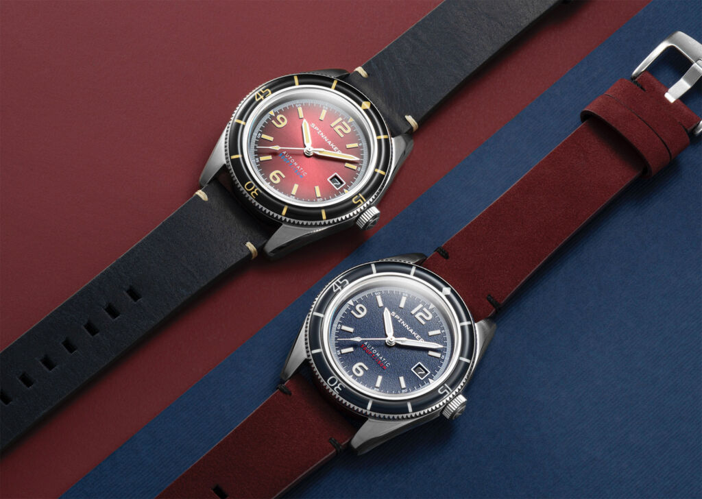 Spinnaker Watches Fleuss Collection Introduces Oxblood Red and Prussian Blue