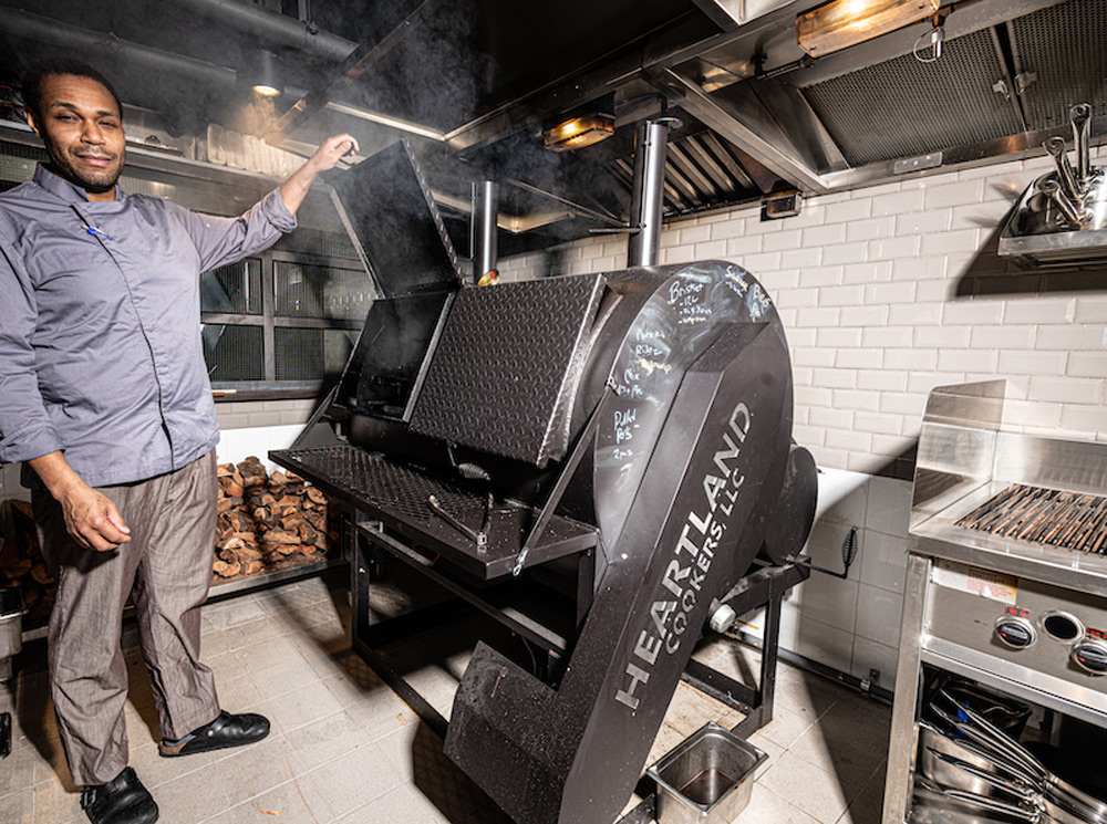 The Smoke and Barrel wood-fired smoker known as the Beast
