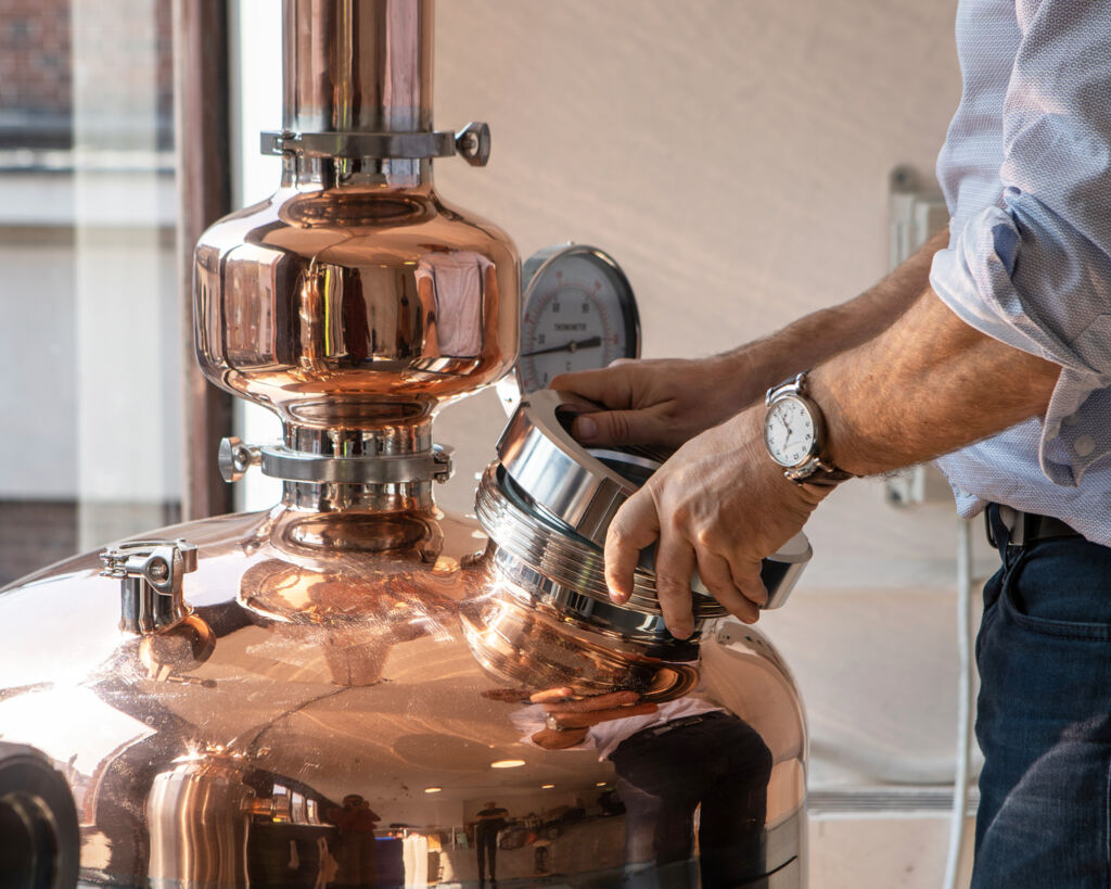 The copper still where the Market Row Botanical Rum is made