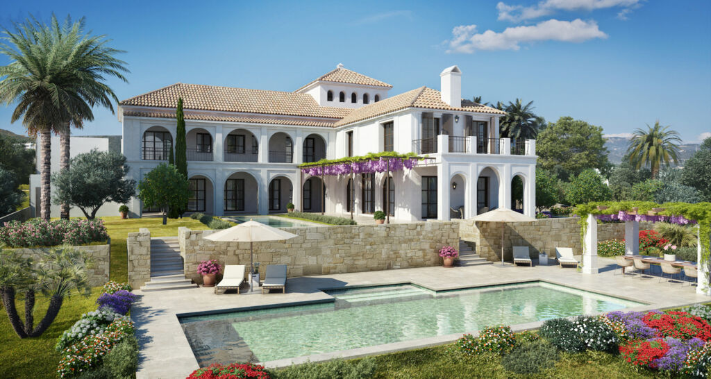 The exterior of a white painted luxury villa