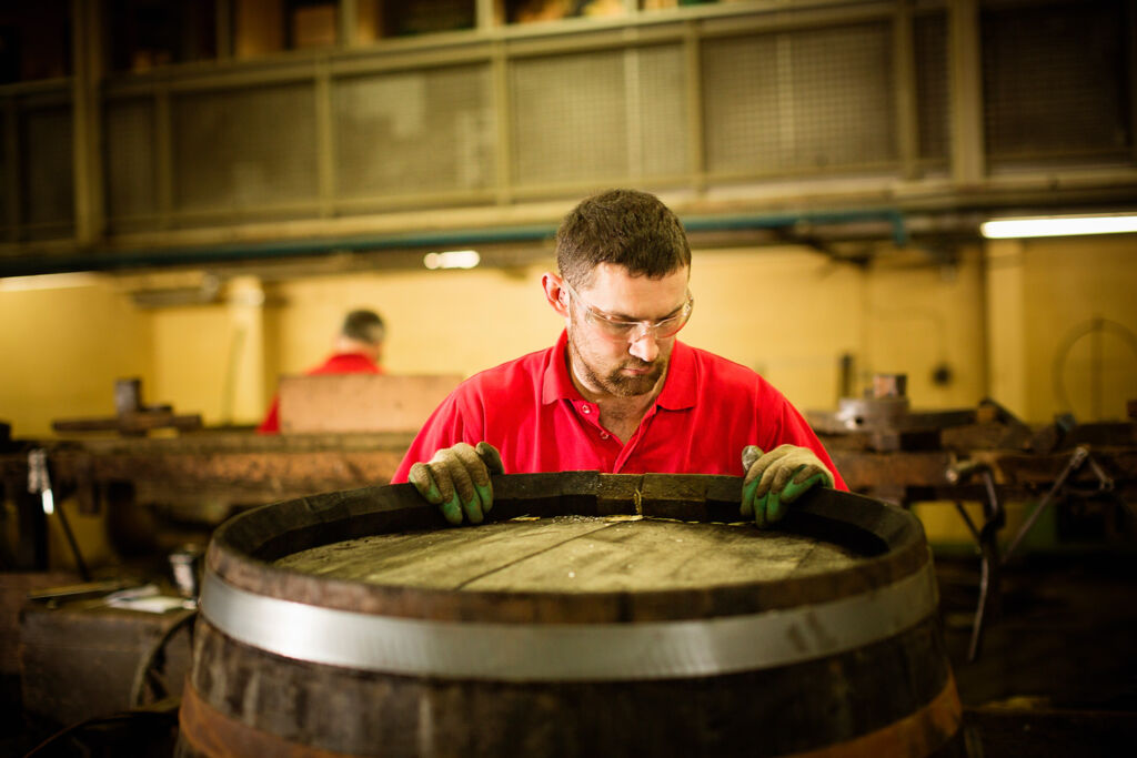 Traditional whisky barrel making in Scotland