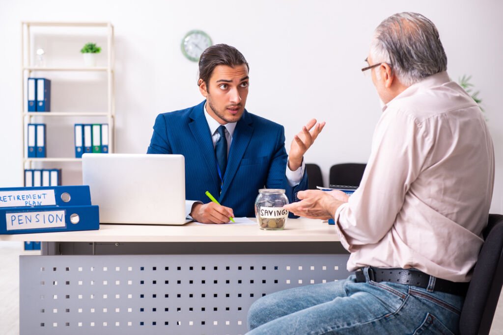 An independent financial advisor offering advice to a client