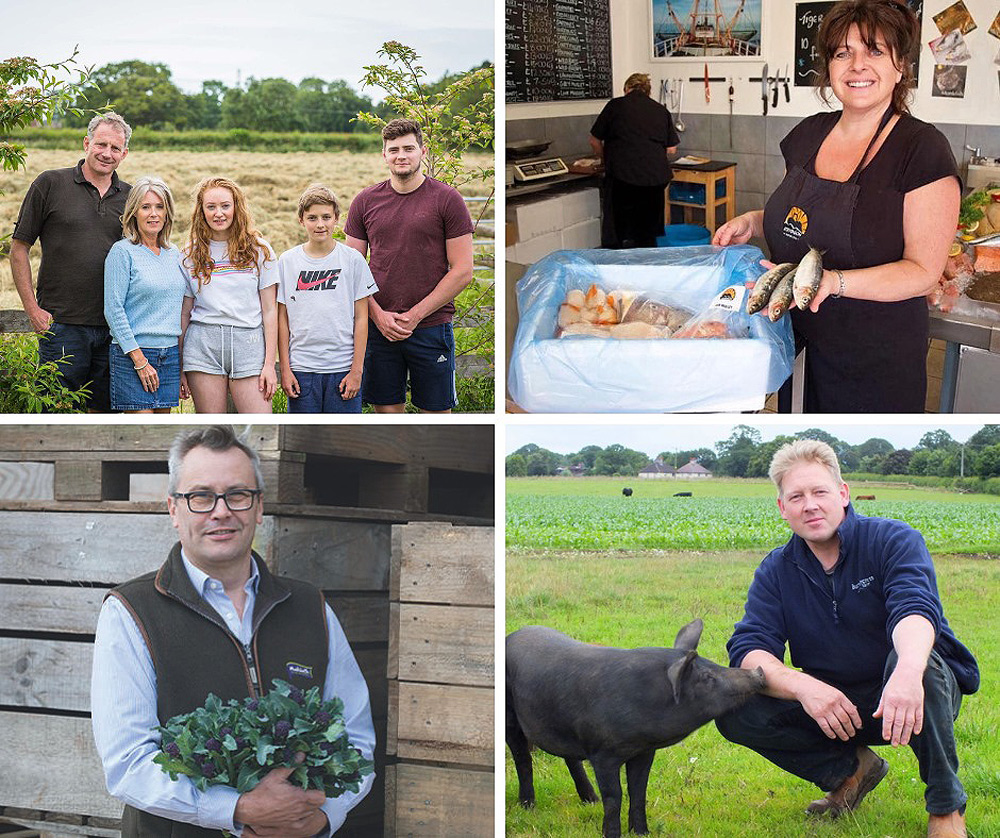 A montage showing some of the farmers and food producers