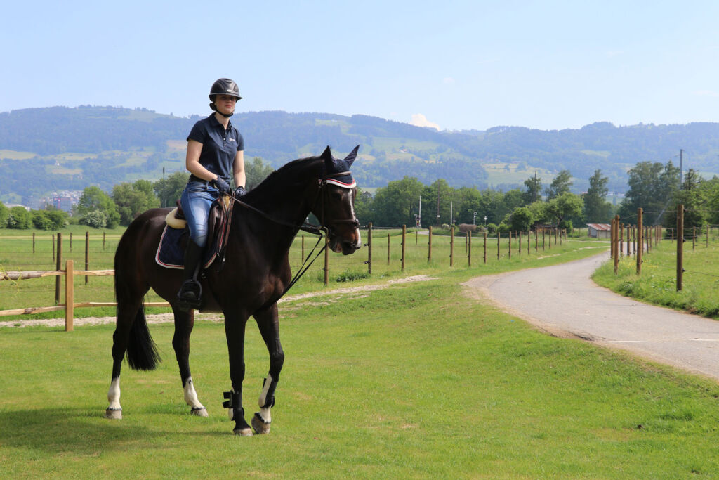 A student horseriding at Institut auf Dem Rosenberg