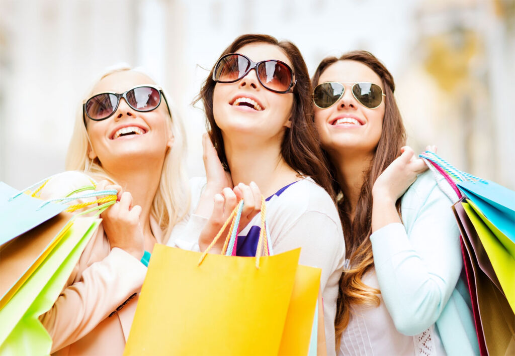 Three you ladies out shopping on holiday