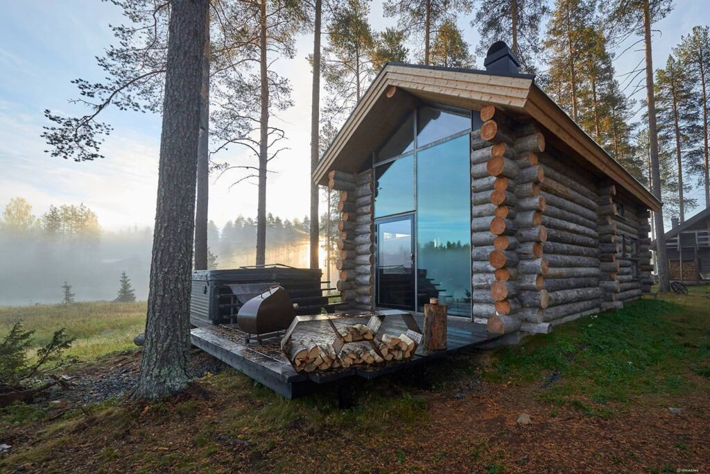 One of the log cabins at the Arctic Retreat