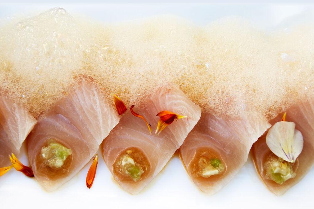 A beautiful plate of freshly prepared sushi