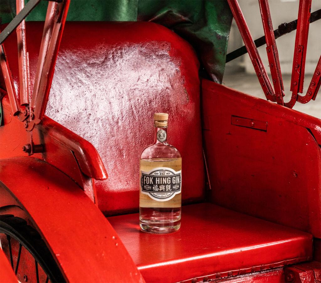 Bottle of Fok Hing Gin on a Hong Kong rickshaw