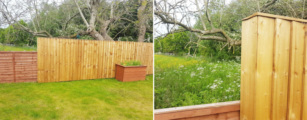 The nature-focused boxed fencing we added to help local wildlife