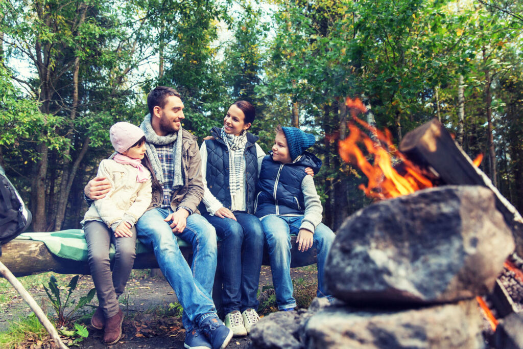 A family enjoing the benefits of being taught some bushcraft
