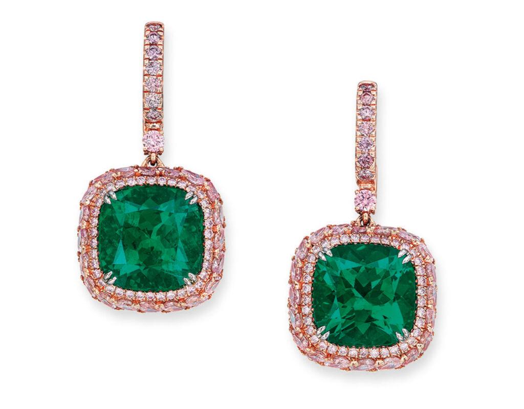Colombian no clarity enhancement Muzo emeralds earrings