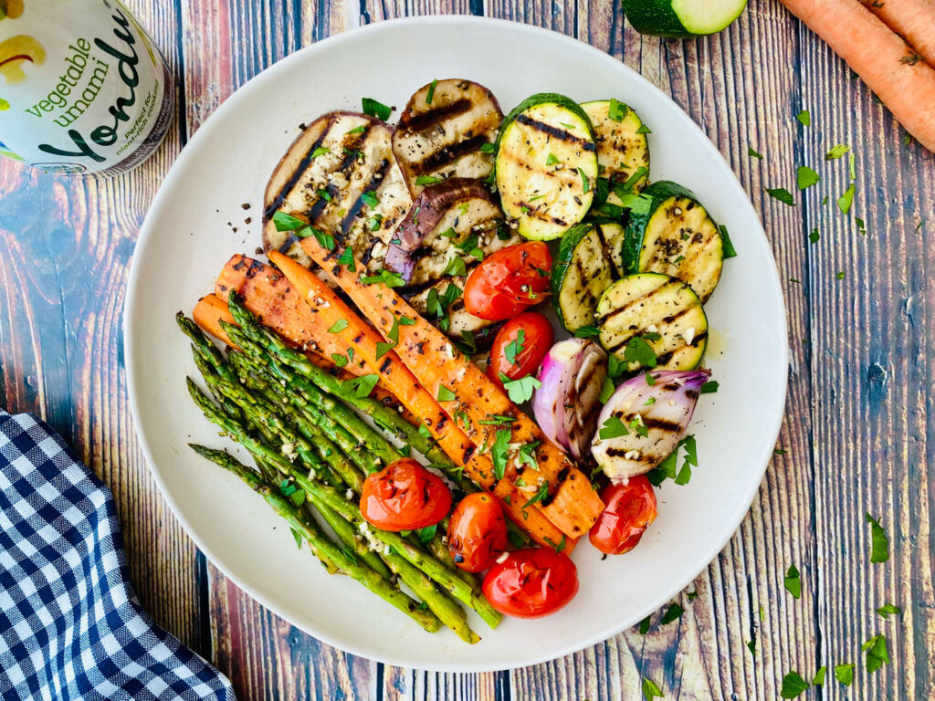 A delicious plate of grilled vegetables made using Yondu seasoning