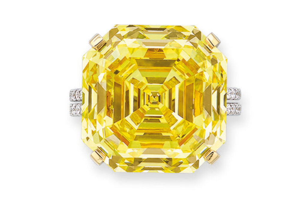 Fancy vivid yellow diamond ring of 31.17 carats