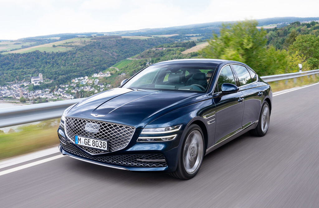 The European left hand drive version of the G80 being driven on the road