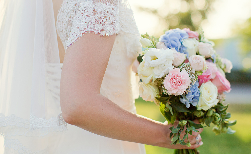 A bouquet being held by the bride