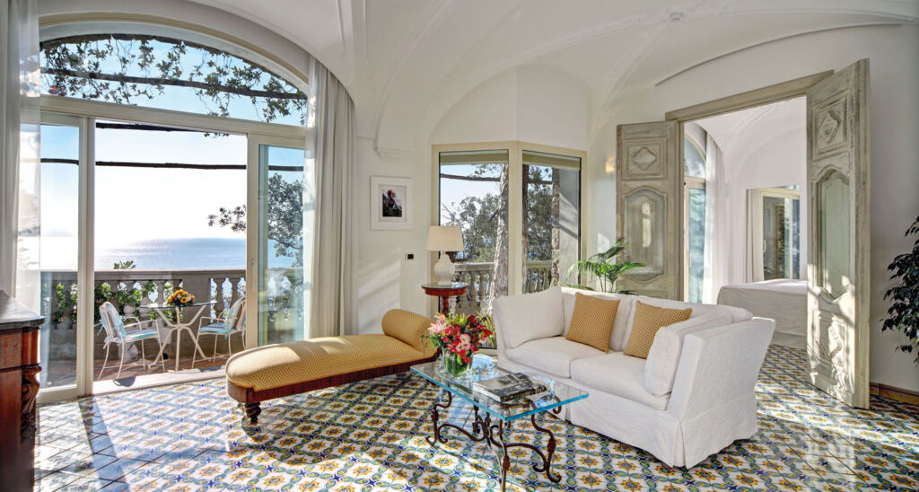 Inside one ofthe luxury bedroom suites with views over the deep blue sea