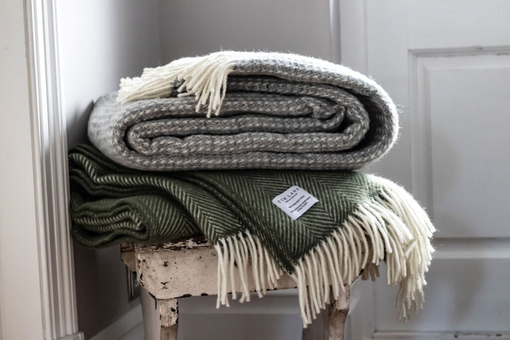 A stack of luxury throws