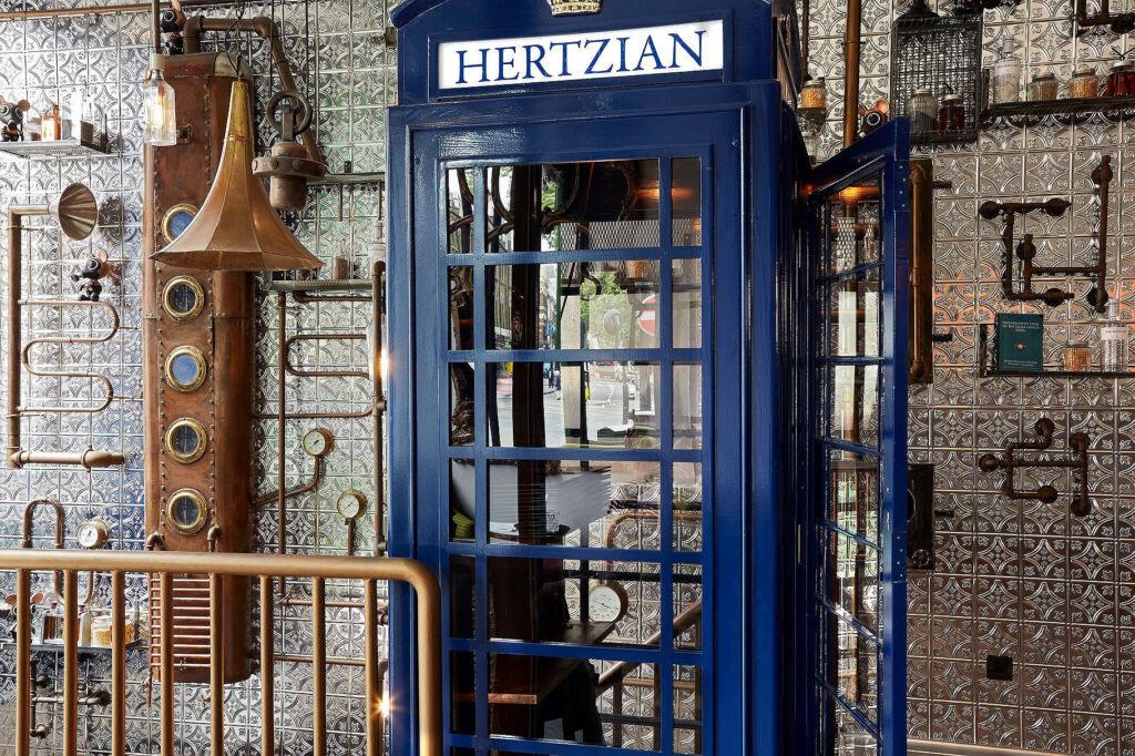 The classic British phone box inside the restaurant