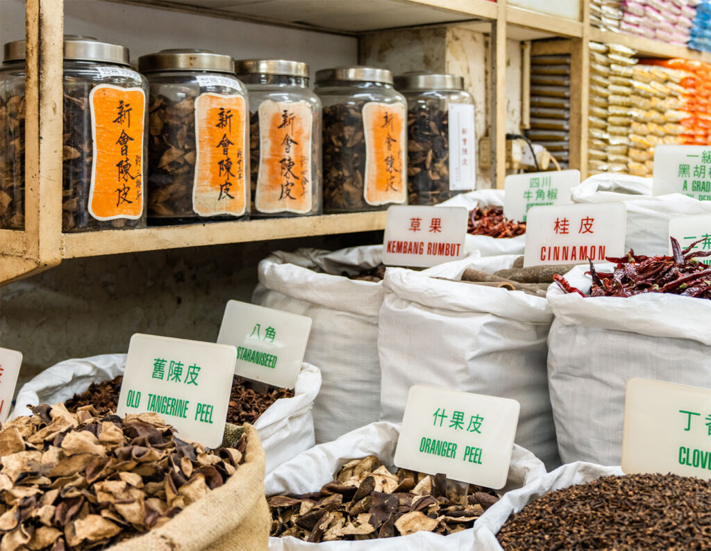 Inside the traditional spice shop in Causeway Bay Hong Kong