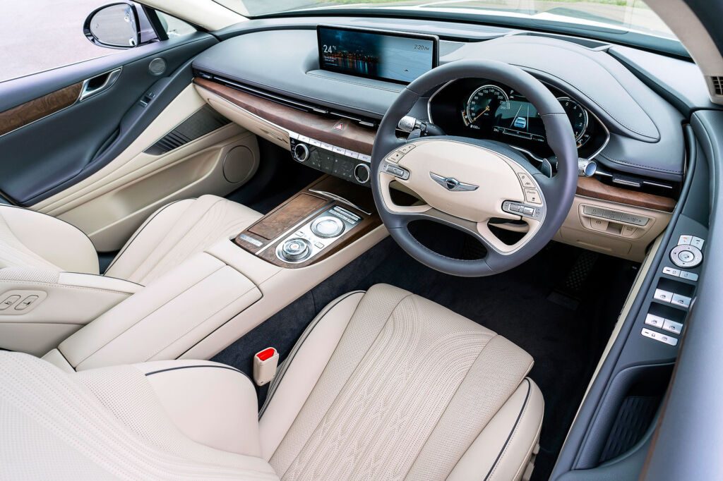 Interior of the UK version of the Genesis G80