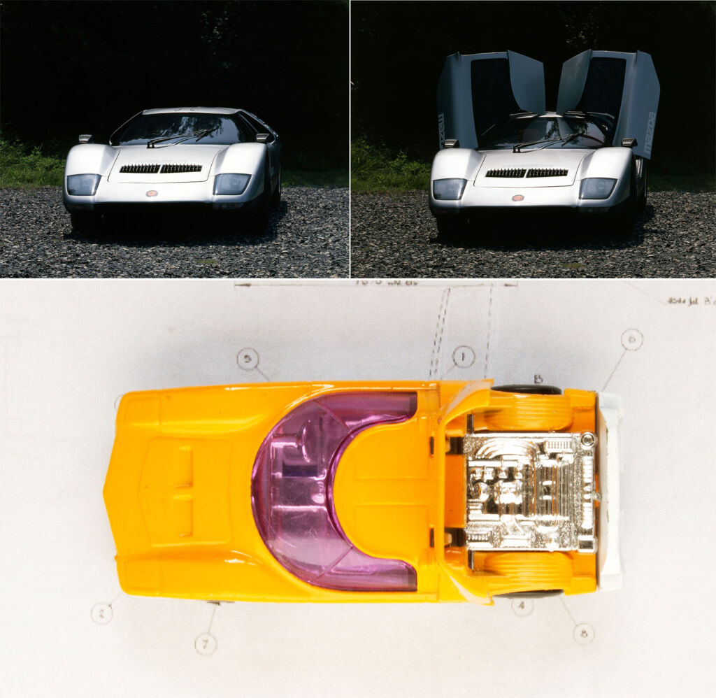 Image showing the gullwing doors closed and open and the Matchbox model as a comparison