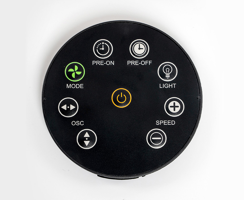 The magnetic, circular remote control you use to operate the fan