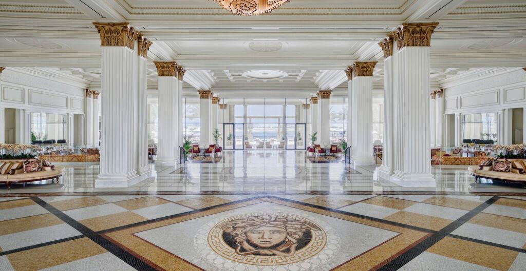 The impressive lobby at the Palazzo Versace