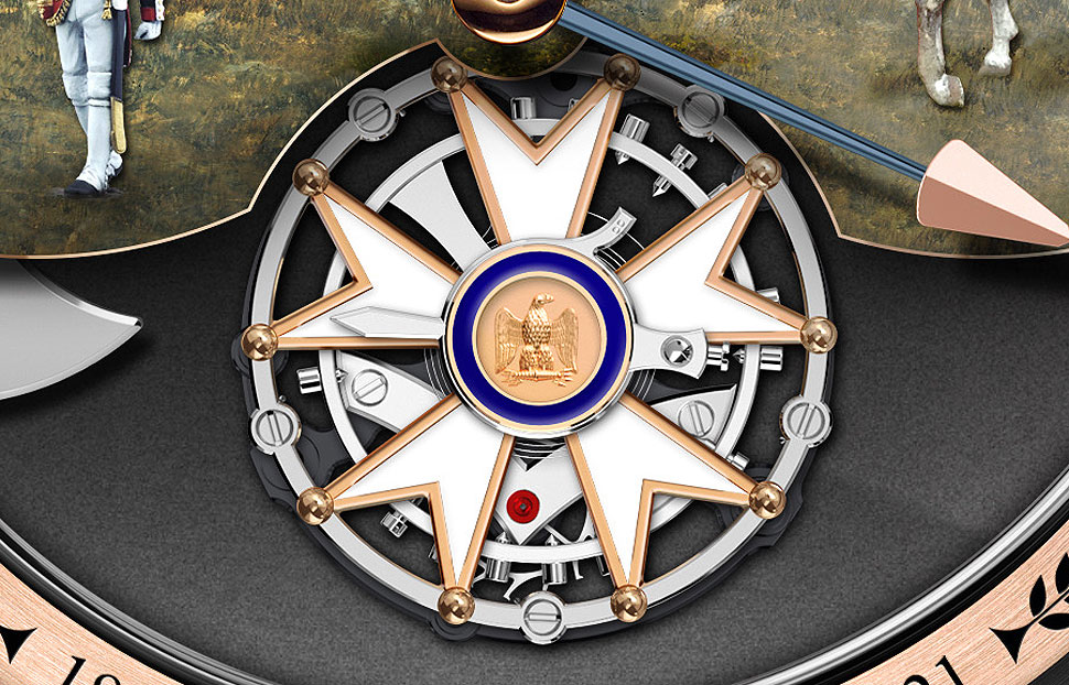 The Legion of Honour medal replicated on the Tourbillon cage