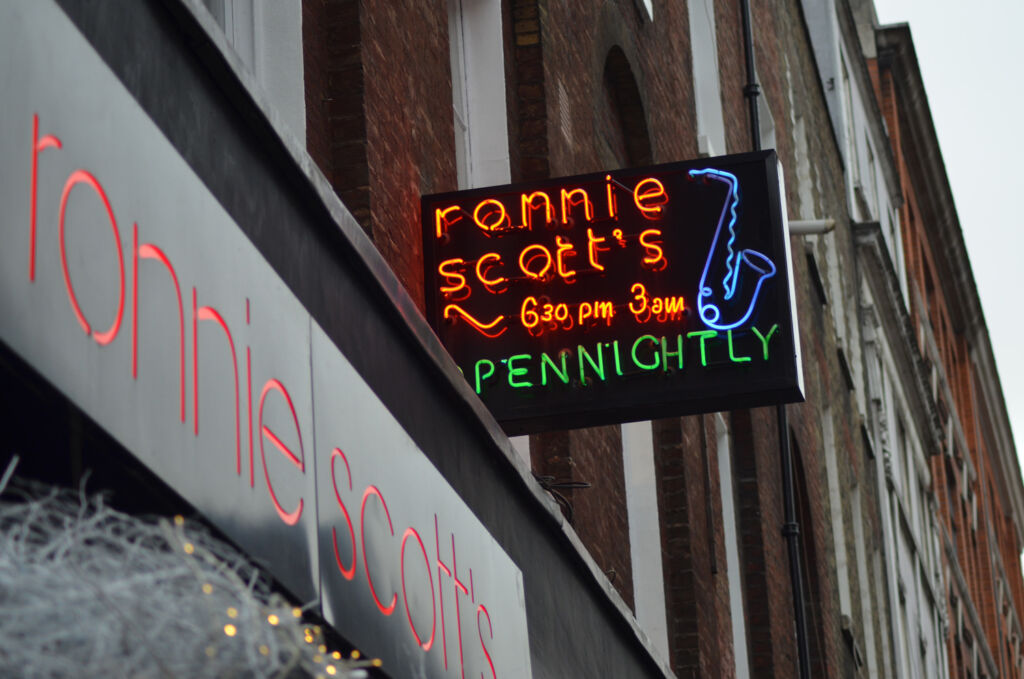 The neon sign outside Ronnie Scott's