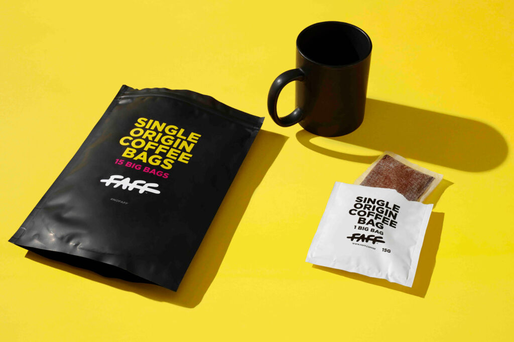 A packet of Faff coffee bags