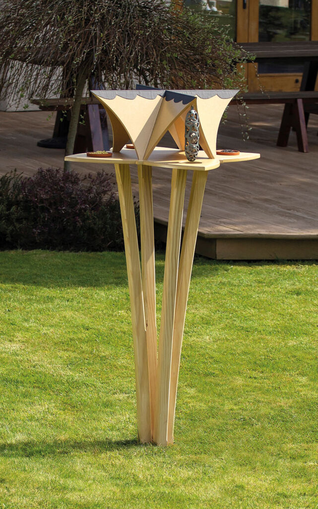 The four leaf bird table on its stand