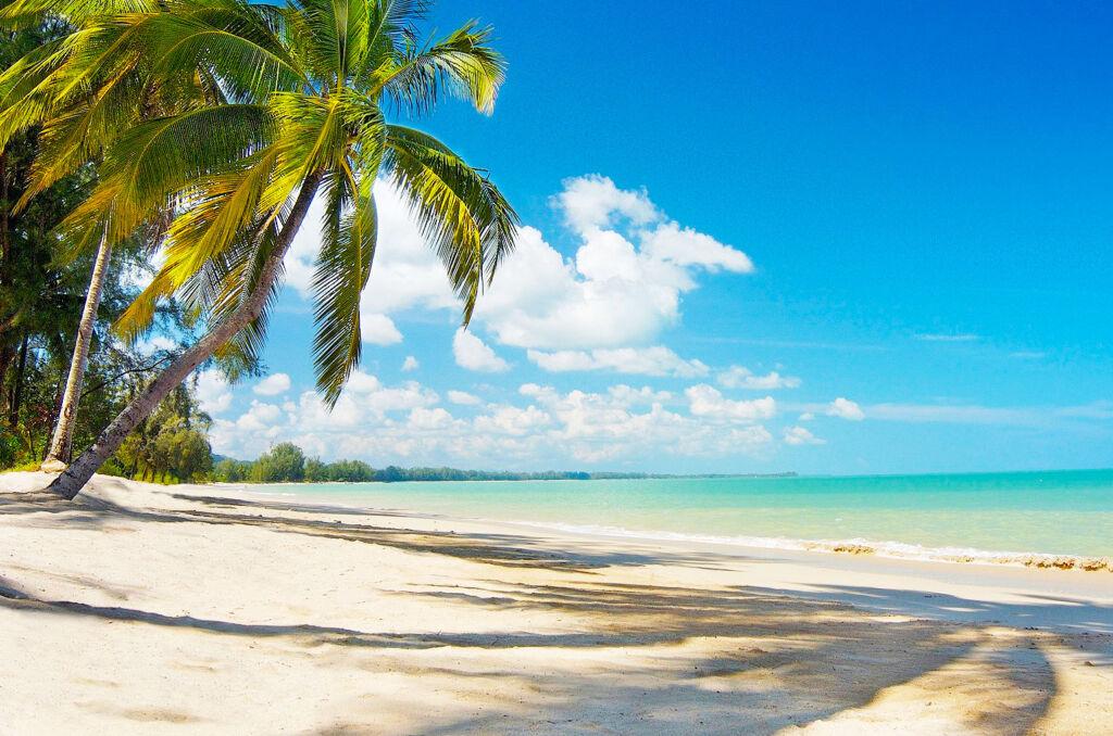 A beautiful sandy beach on the tropical island we lived on