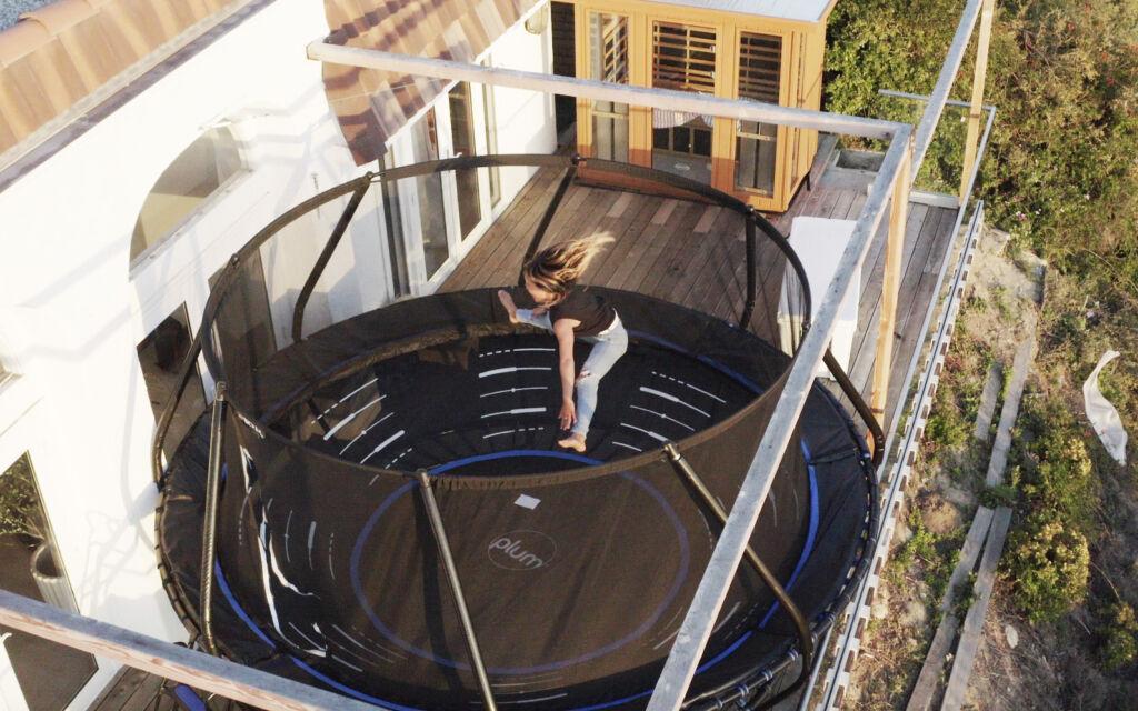 Sky Brown on a trampoline