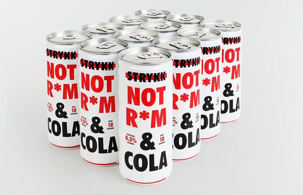 NOT RUM and Cola cans