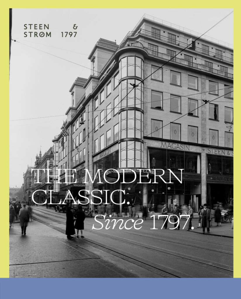 A poster showing the rebranding to Steen & Strøm 1797