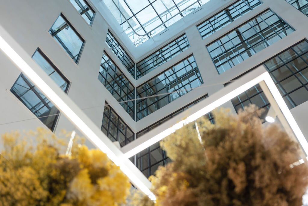 Looking upwards inside the stores atrium